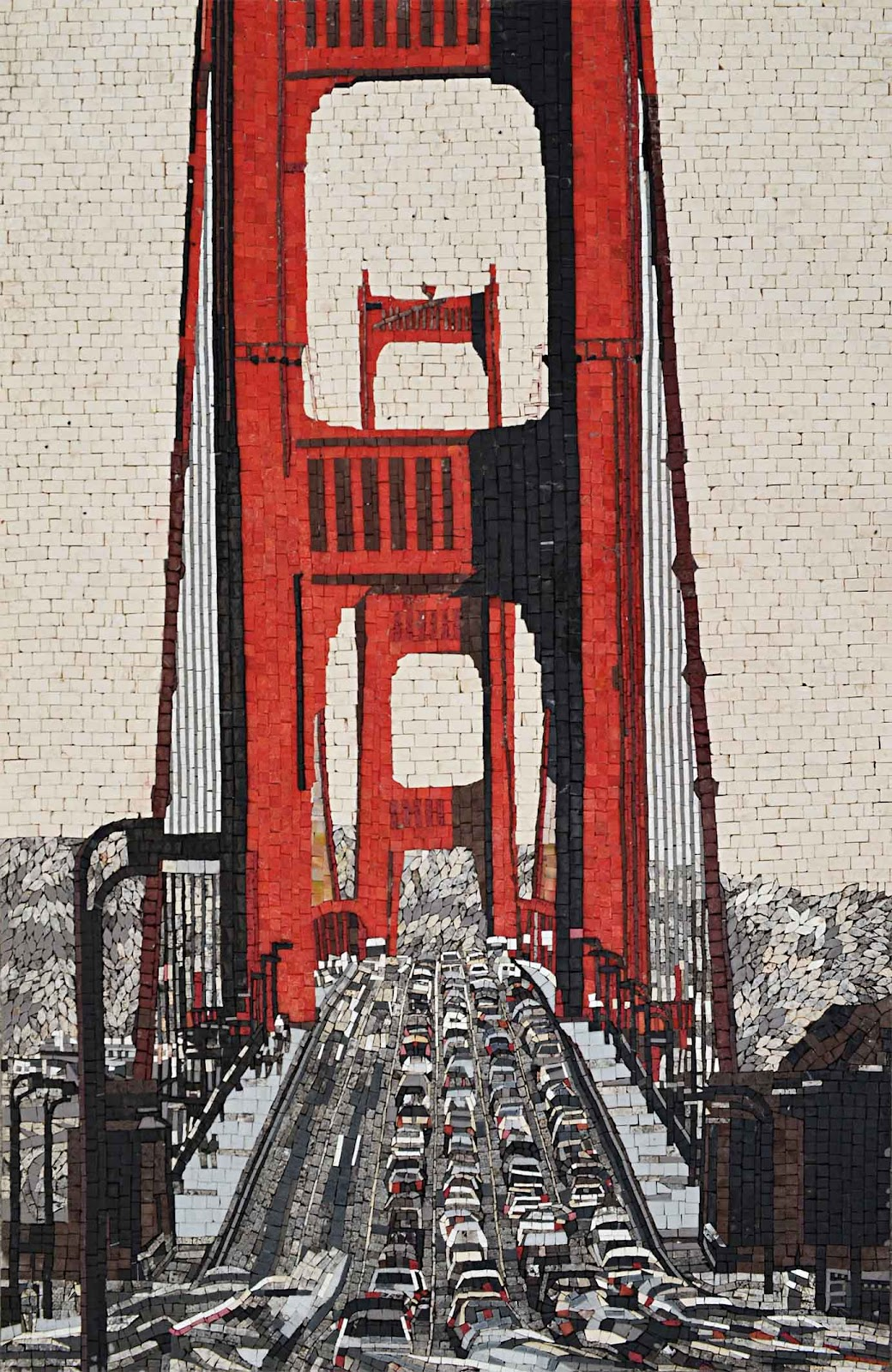San Francisco Golden Gate Bridge Mosaic by Mozaico