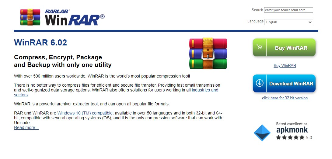 WinRar file extension for tar archive