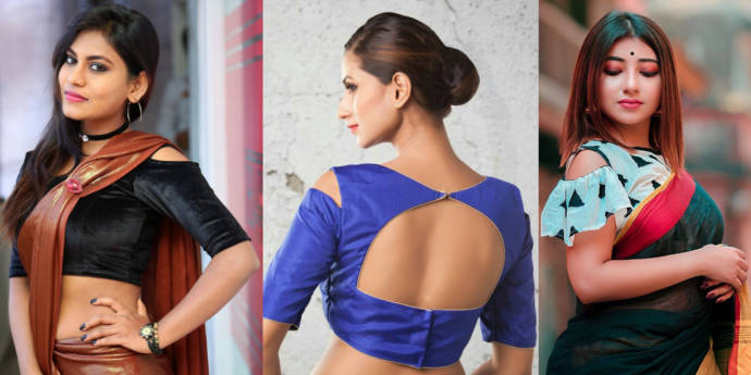 Cold shoulder neck blouse design