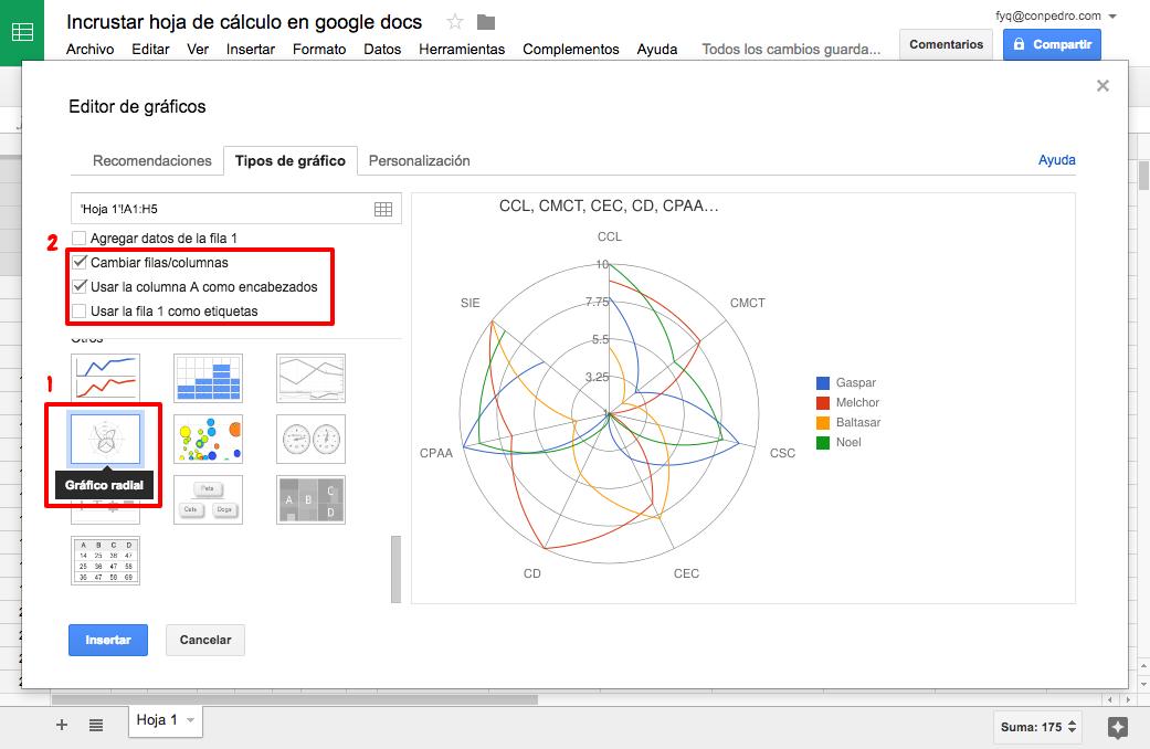 Incrustar hojas de cálculo en Google Docs
