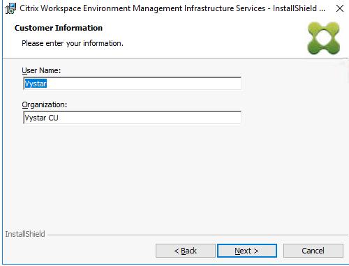 "Machine generated alternative text: Citrix Workspace Environment Management Infrastructure Services - Instal[ShieId  Customer Information  Please enter your information.  user Name:  Qrganiza bon:  ""star CLI  InstallShieId  Next >"