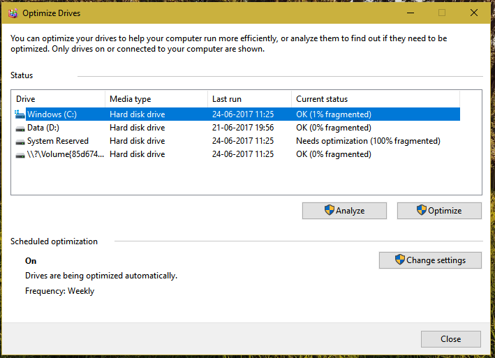 Running Windows disk defragmentation on boot in Windows 10 - Super User