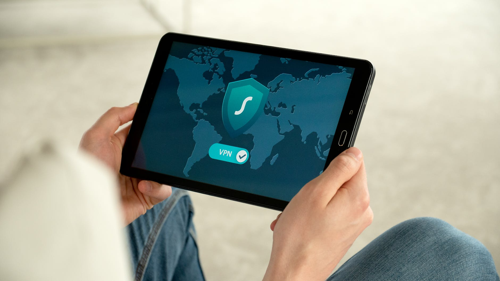 Using a tablet secured with a remote vpn