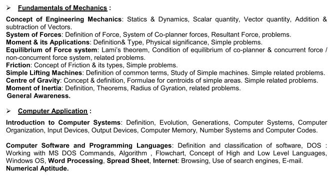 VOCLET 2021 Fundamentals of Mechanics and Computer Application Syllabus
