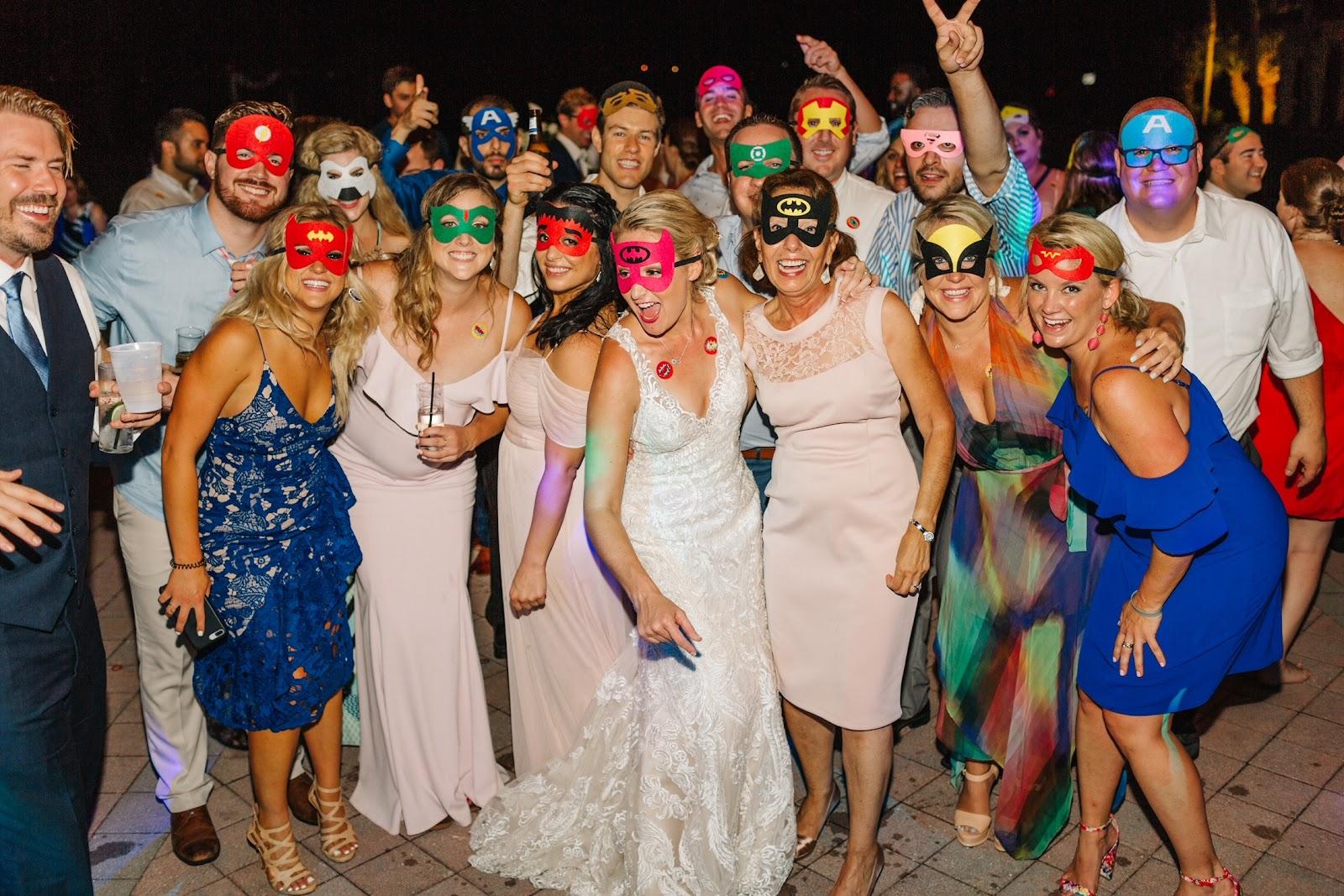 Sarah Colburn Matt Audibert Destination Wedding Planning Superhero Masks Theme