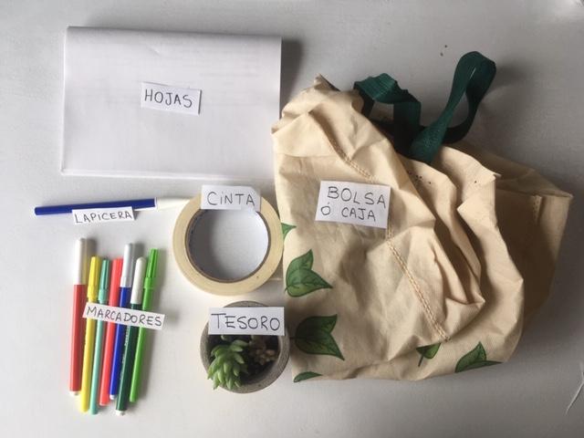 Hojas en blanco, una lapicera, cinta de papel, marcadores de colores, una bolsa de tela, una planta con un cartel que dice «tesoro».
