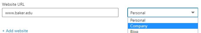 A screenshot of the website URL dialogue box on LinkedIn