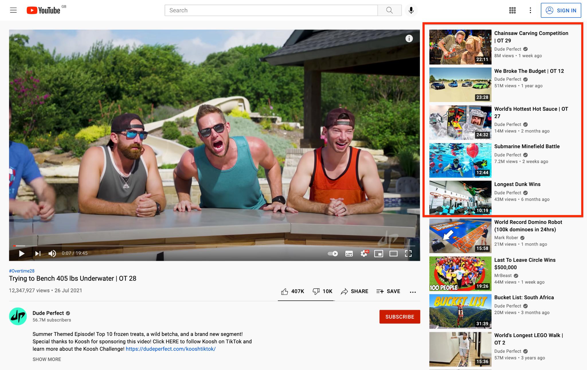 Dude Perfect YouTube Channel screenshot