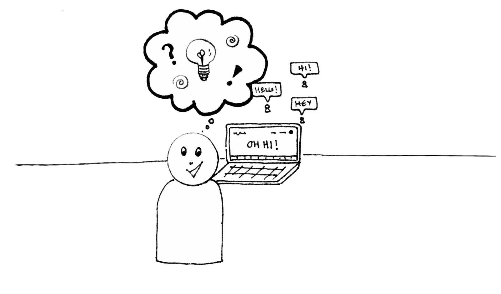 A hand drawn weeble person representing the author looks happily lost in thought about her ideas and potential while a laptop behind her shows messages of welcome from across the internet.
