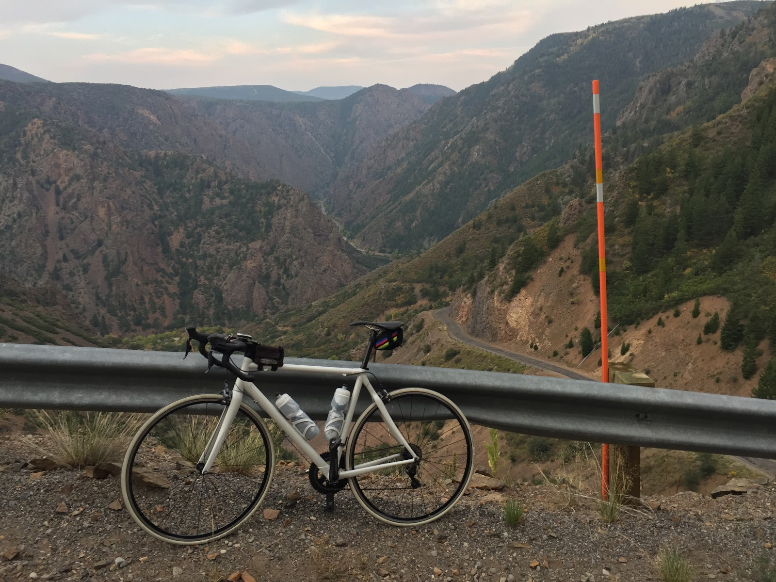 Cycling  East Portal - bike with canyon and mountains in background