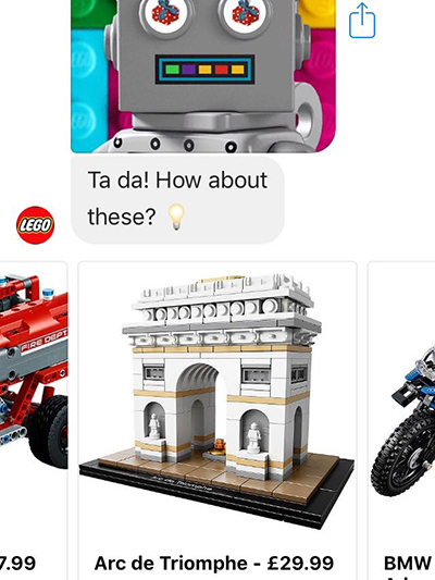 Ecommerce trends 2019: Lego gift bot product recommendations