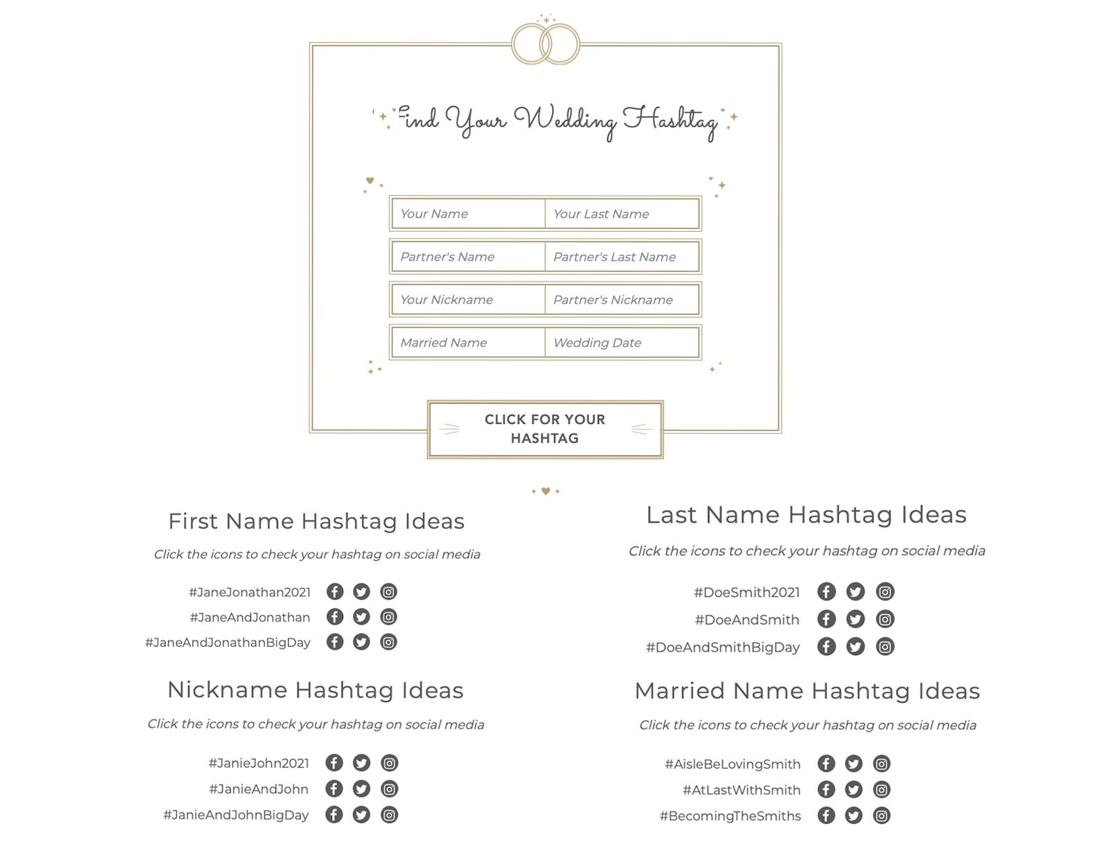 shutterfly wedding hashtag generator