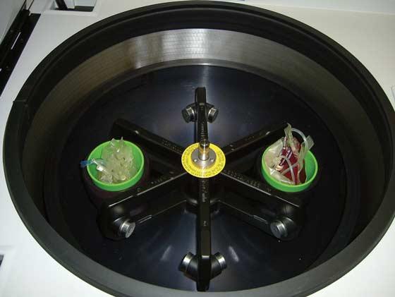 A balanced centrifuge