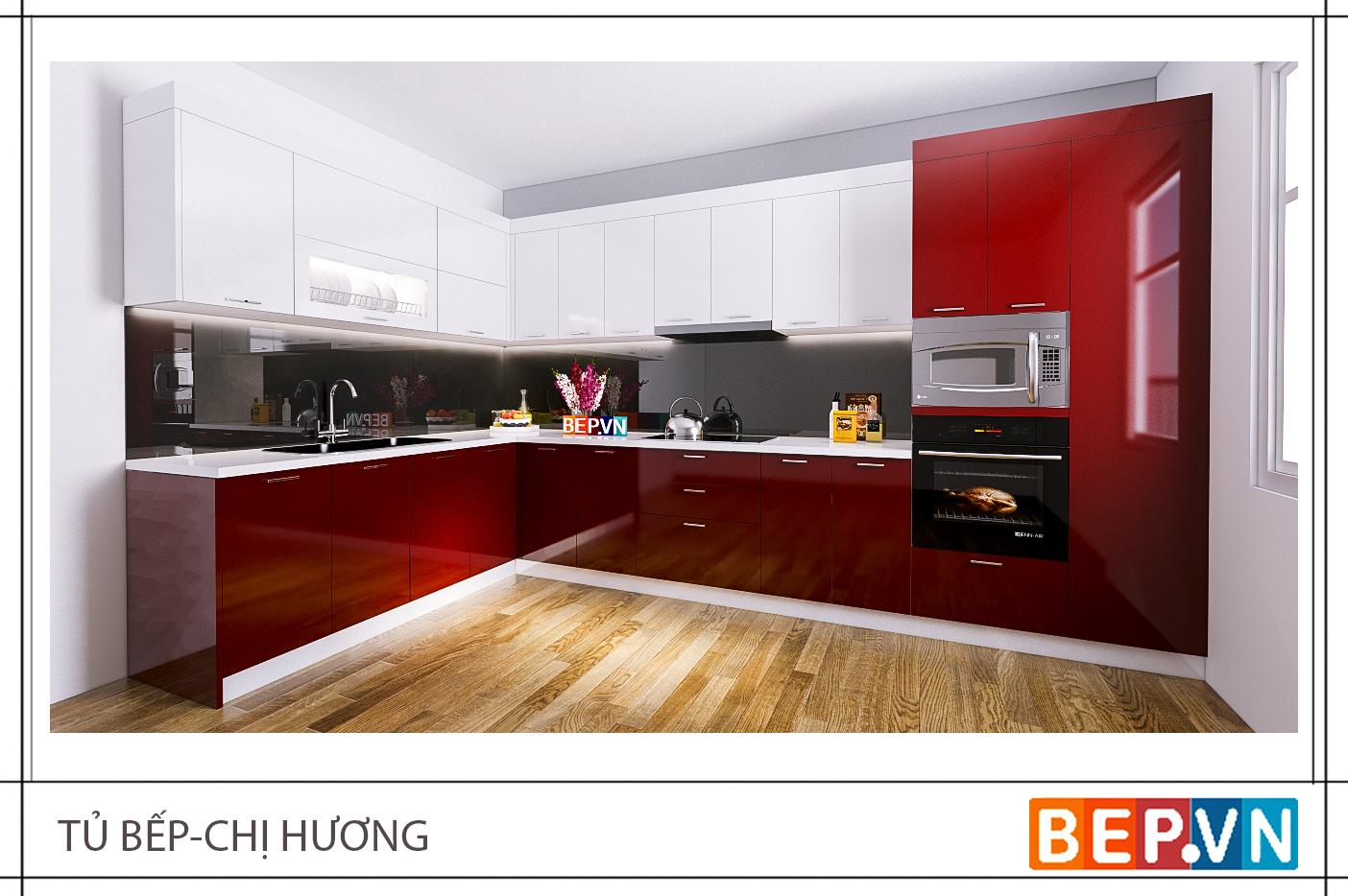 Thiết kế tủ kho kết hợp lò nướng và lò vi sóng trong căn bếp gia đình chị Hương.