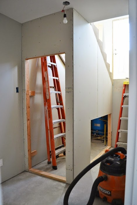 how to add drywall to bottom of stairwell