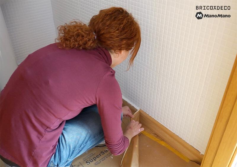 retirar el papel protector después de pintar