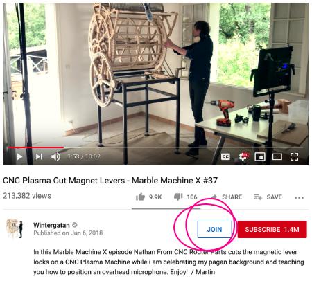 Nút tham gia trên Kênh YouTube