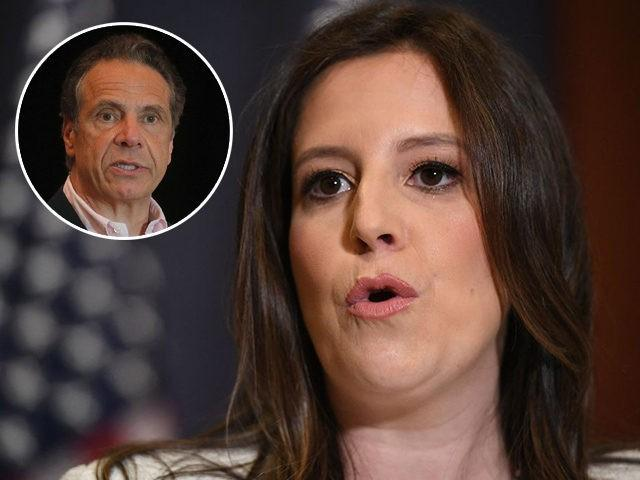(INSET: New York Governor Andrew Cuomo) Representative Elise Stefanik (R-NY) speaks to reporters after House Republicans voted for her as their conference chairperson at the US Capitol in Washington, DC on May 14, 2021. (Photo by MANDEL NGAN / AFP) (Photo by MANDEL NGAN/AFP via Getty Images)