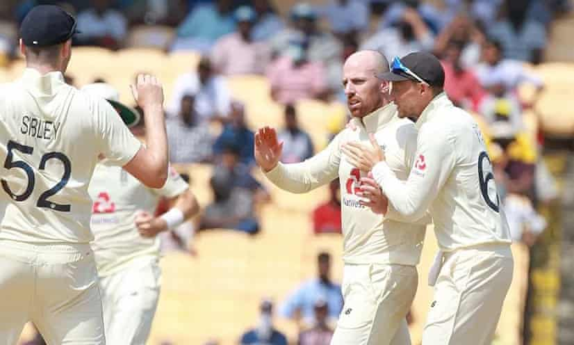 England's Jack Leach is congratulated after taking a wicket, but was denied more.
