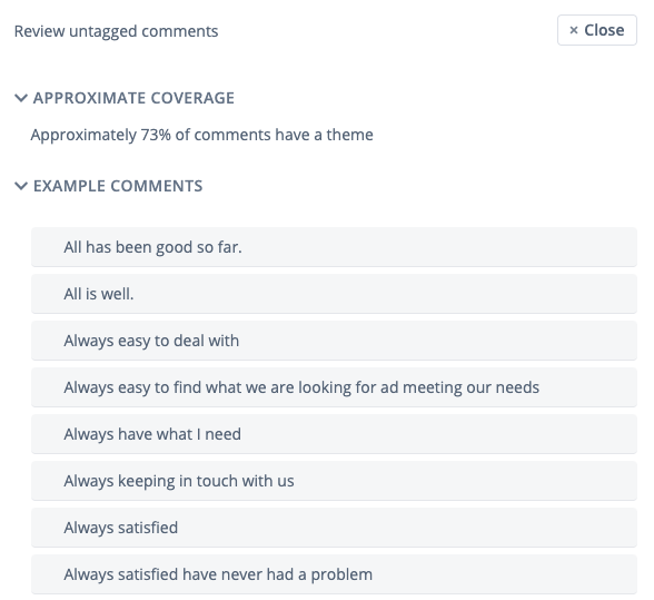 The review untagged comments section in Thematic