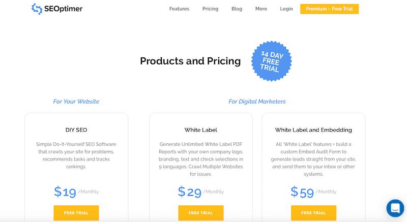 SEOptimer pricing