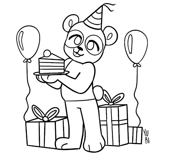 Desenho de panda comemorando aniversário para colorir