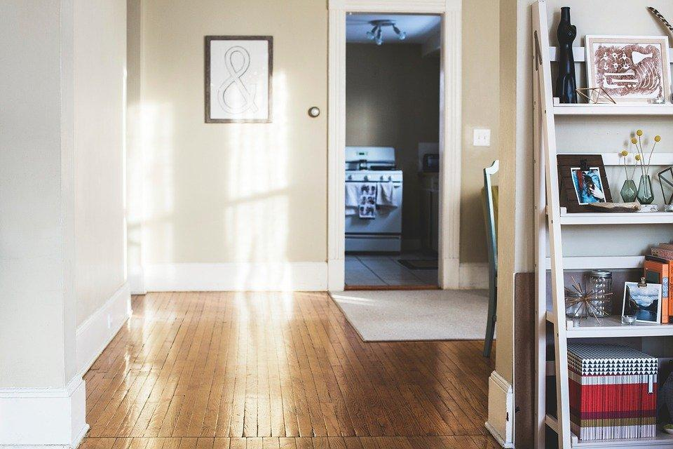 View of indoor hardwood flooring in a rental property in Grand Forks, North Dakota.
