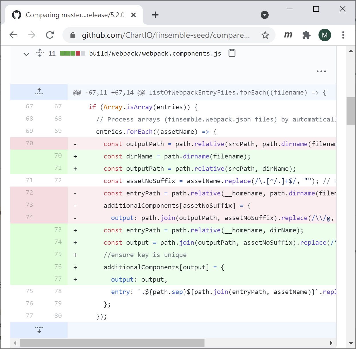 Viewing changes in GitHub