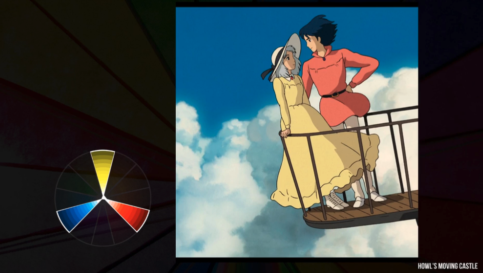 howls moving castle blue yellow red screenshot
