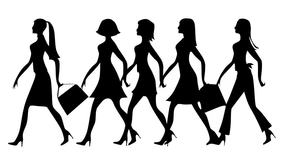 シルエット, 女性, 仕事, 徒歩, ストラット, ハンドバッグ, ハイヒール, ドレス, スタイル
