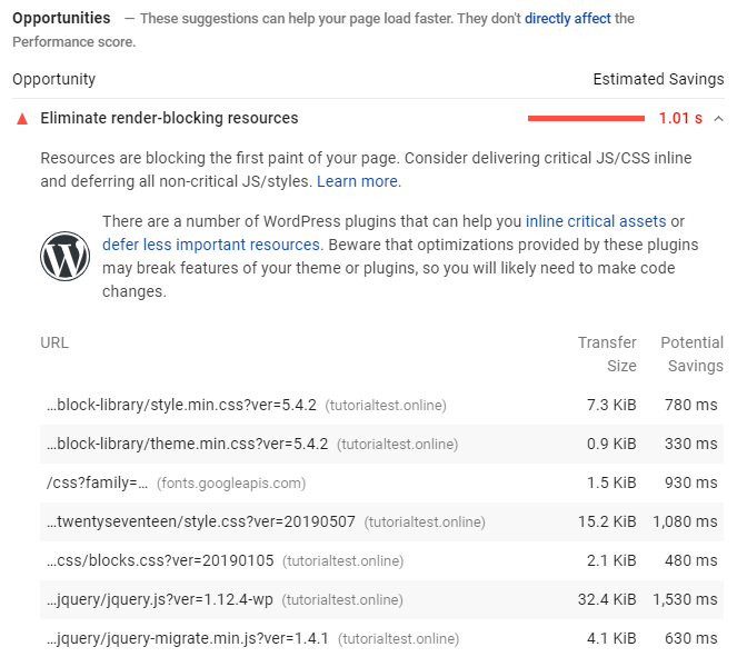 Daftar render-blocking resources di hasil tes Google PageSpeed Insights