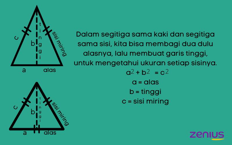 pythagoras untuk mencari tinggi segitiga sama kaki dan segitiga sama sisi