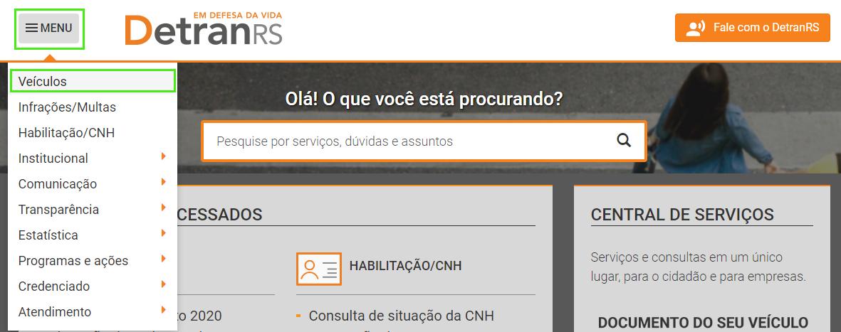 """Clique em """"Menu"""" na home do site do Detran RS"""