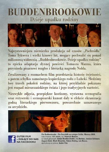 Tył ulotki filmu 'Buddenbrookowie. Dzieje Upadku Rodziny'