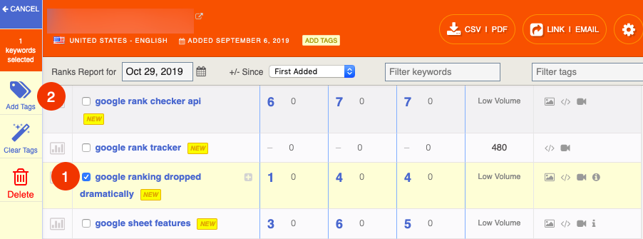 add tags to keywords in authority labs