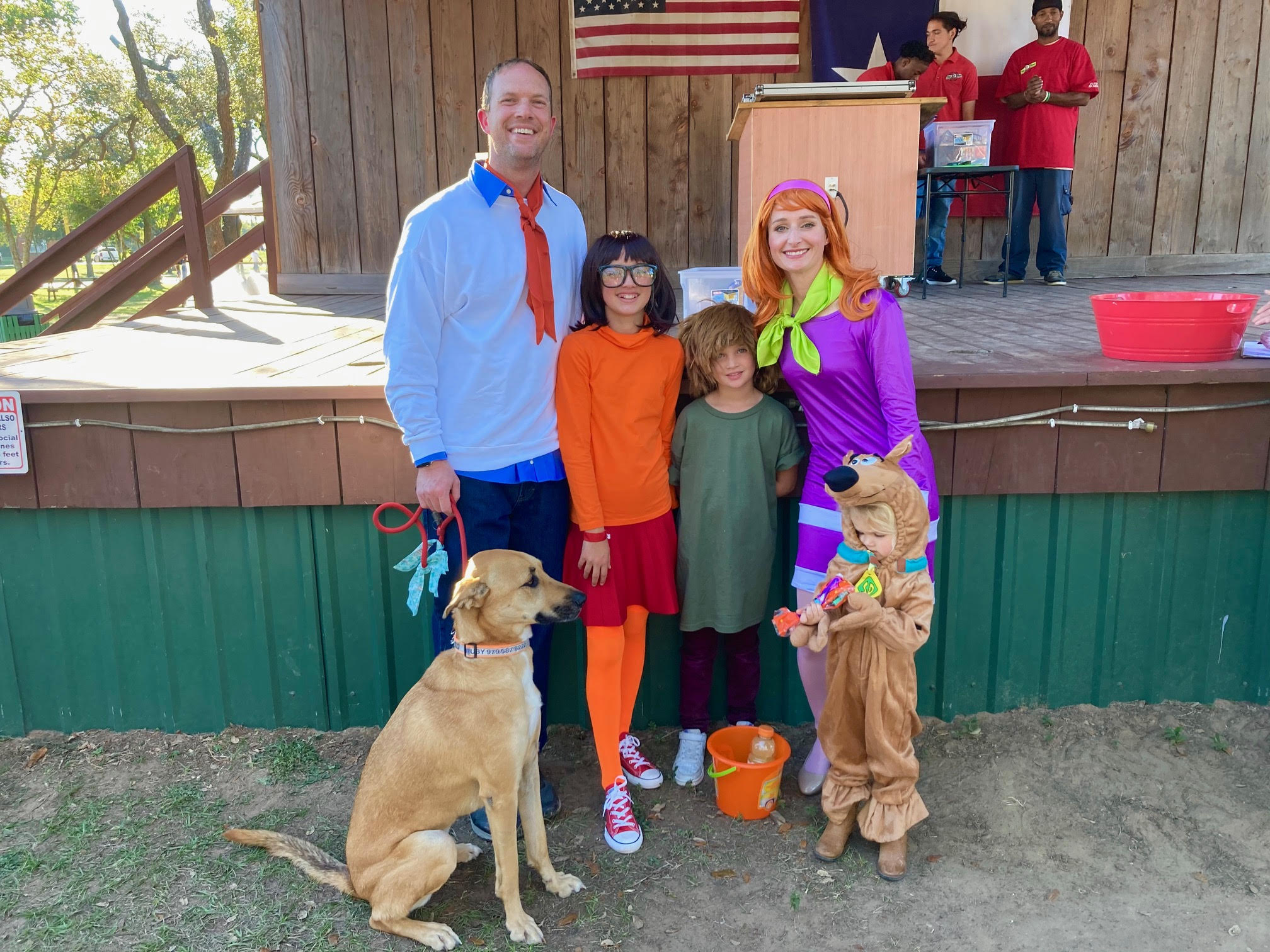 Family dressed up for halloween costume contest