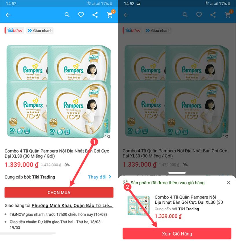 Vào chọn mặt hàng cần mua và tiến hành nhập mã giảm giá Tiki App