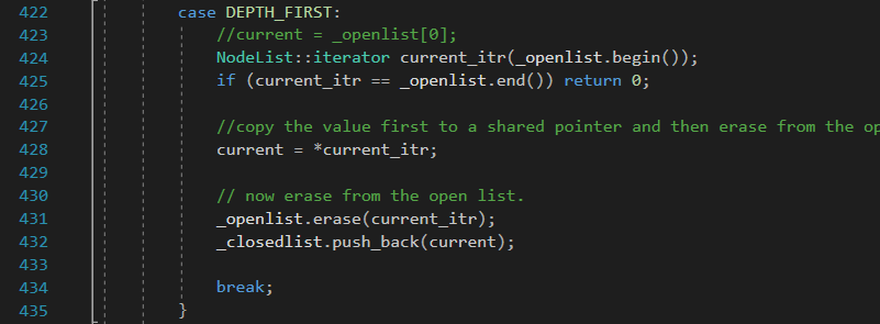 GetNextNode (DEPTH_FIRST algorithm) function in Solver class for Solving the 8 puzzle problem using A* (star) algorithm