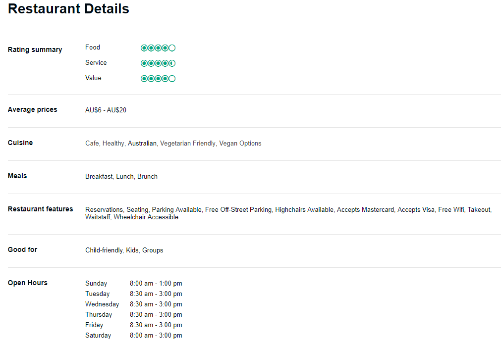 """A screenshot showing some examples of the 'features' that can be listed on TripAdvisor profile, such as """"Highchairs available"""" or """"Free WiFi"""""""