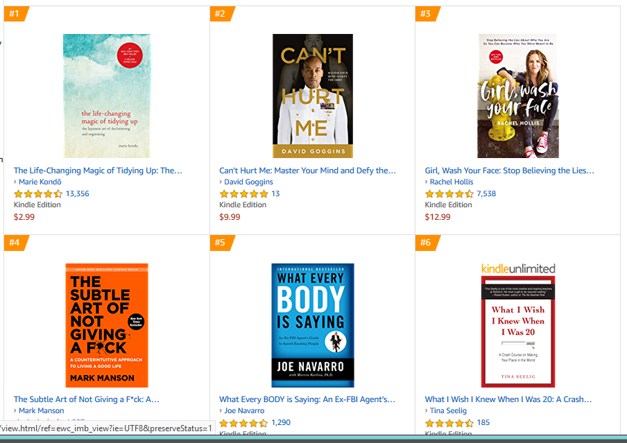 A screen shot of the top 6 best-selling books on Amazon in the Motivational Self-Help category. Most of them are also bold and simple, with the focus on the title. Two of the books are more autobiographical, and they feature a picture of the author instead of just the title on a simple background.
