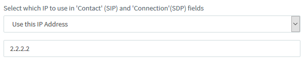 "<b>""Select which IP to use in 'Contact' and 'Connection' fields""</b> option in SIP Trunk settings &gt; <b><b><b>""Options""</b></b></b> tab."