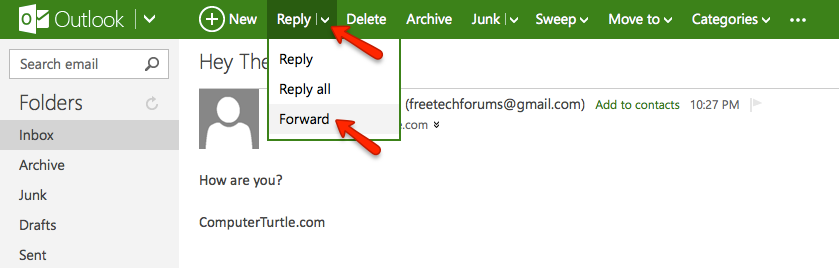 forward email outlook.com, forward message outlook.com, forward email hotmail, forward email msn mail