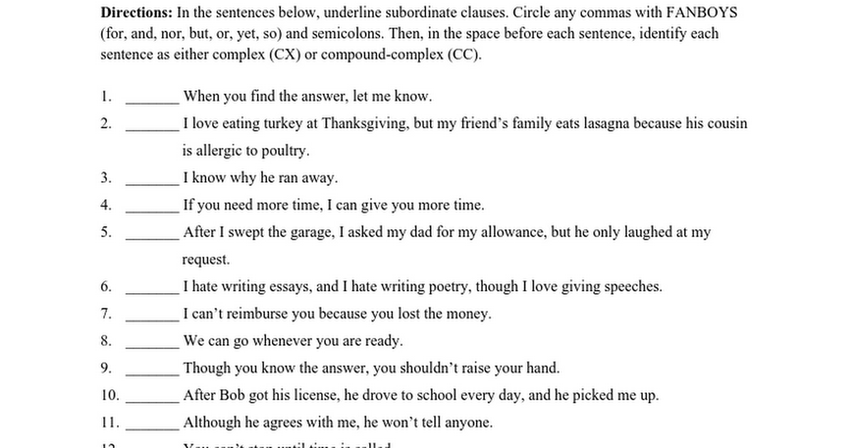 complex comp complex sentences ws google docs