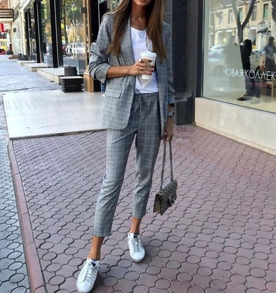Image result for pantsuit with sneakers