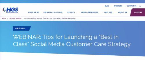 "Tips for Launching a ""Best in Class"" Social Media Customer Care Strategy Webinar"