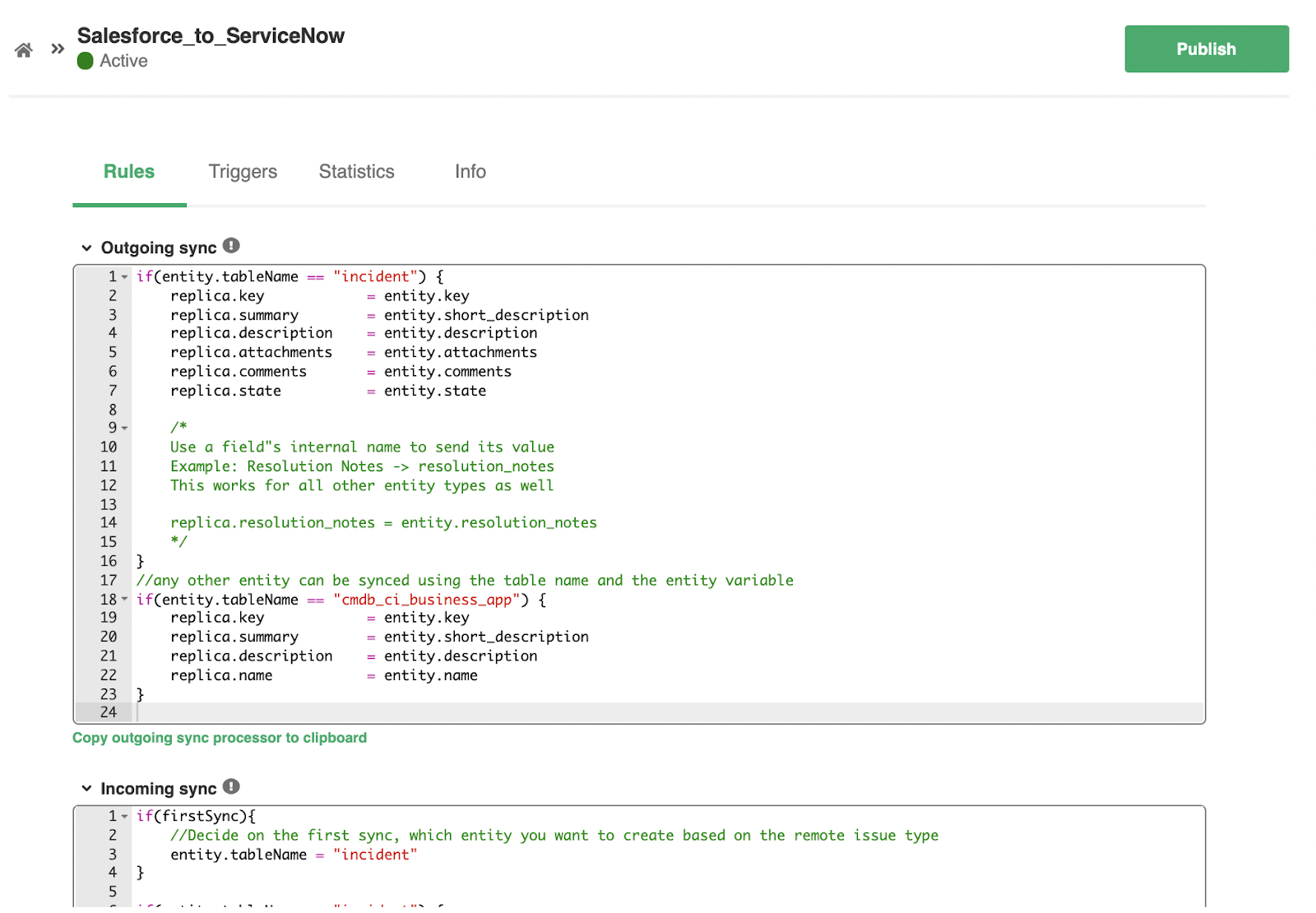 edit Salesforce ServiceNow sync rules