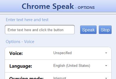 Chrome Speak – Đọc đoạn văn bản bằng giọng nói