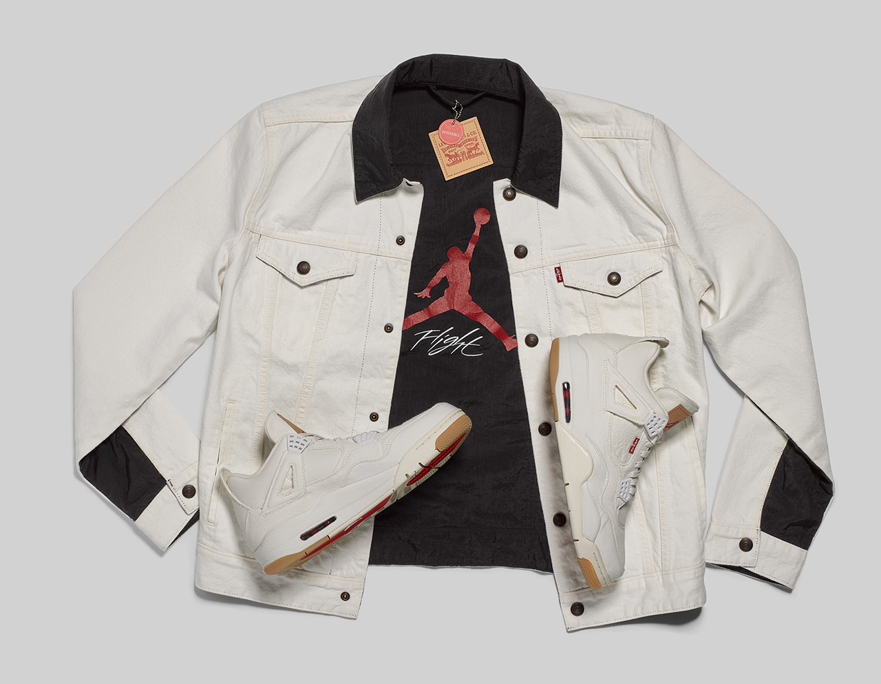 cbd848b4b77e79 The Levi s x Jordan Reversible Trucker Jacket is the perfect mash-up of an  original Levi s Trucker and Jordan Flight Suit. It is made with the highest  ...