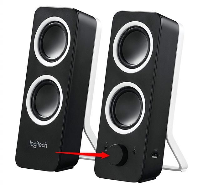 The volume slider on Logitech multimedia speakers