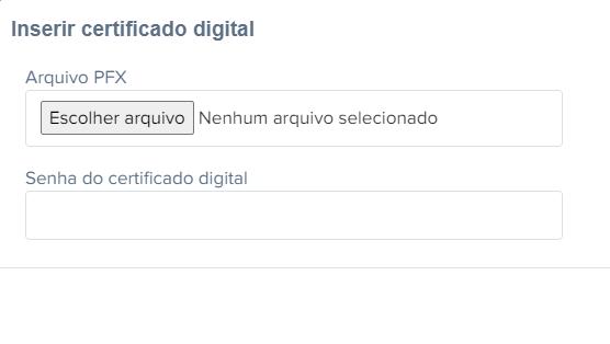Tela de instalação de certificado digital no Emitte
